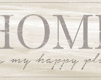HOME is My Happy Place, Shabby Chic Sign, Whitewash Look Wood Sign,Cottage Style decor