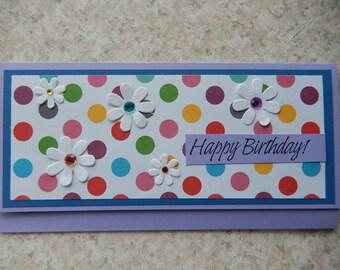 Birthday Cash/Check Gift Holder - purple and rainbow dots