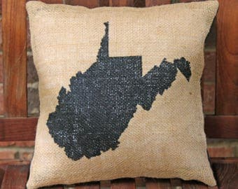 Hand Painted State of West Virginia Silhouette on Burlap Pillow Cover