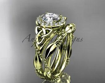14kt yellow gold diamond celtic trinity knot wedding ring, engagement set CT7328S