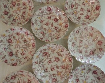 CHIPPY CHINA Nine 9 Pieces Vintage Copeland Spode Rosebud Chintz 5.25 Inch Berry Bowls Pinks Greens English China for Jewelry Mosaics Crafts
