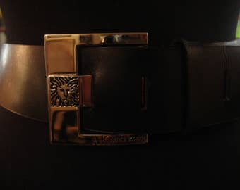 Vintage 1990s Anne Klein Smooth Black Leather Belt With Large Silver Buckle