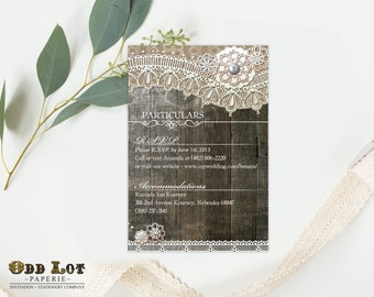 Printable Rustic Wedding Insert Card Directions Card Hotel Card for wedding information DIY Printable Details Card for events ~Wood Lace