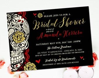Sugar Skull Bridal Shower Invitation Offbeat Wedding Day of the Dead Dia de los Muertos DIY Printable Skull Wedding Wine Tasting Invite