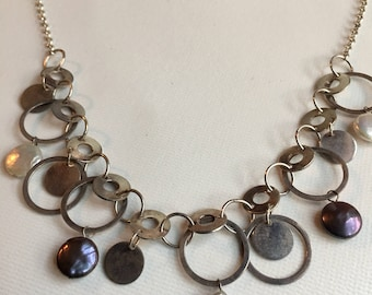 Pearls and Silver Discs Necklace