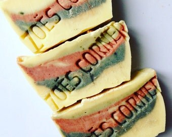 Soap - Sweet Spearmint- 100 % Natural Handmade Cold Process Soap Savon From Scratch- SLS and Paraben Free