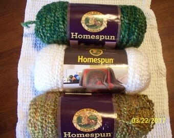 Homespun Lion Brand Yarns 6 ounce Bulky Weight - Bourbon, Forest or Hepplewhite