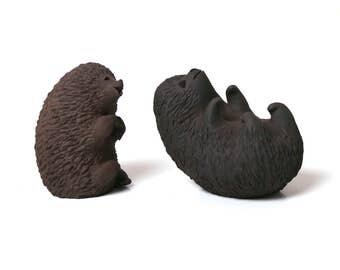Ellen Karlsen hedgehogs pair 1960s, Danish studio pottery HAK Herman Kahler, Scandinavian Nordic Danish midcentury modern animal figurines