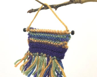 Miniature Wall Hanging- Purple, Gold, Green- Fringed, Hand Knitted- Ombre- Boho- Tiny Knits