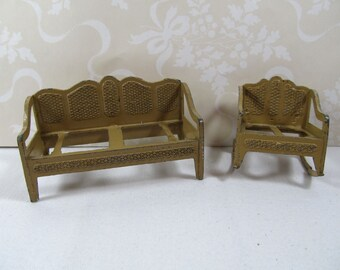 Vintage 1920s Tootsie Toys Dollhouse Sofa and Wide Rocker, Miniature Dollhouse Living Room,Tootsie Toys Collectors, Tootsie Toys Dollhouse