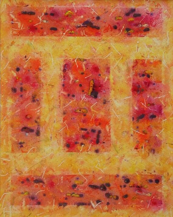 Original Art Abstract Painting Geometric Orange Yellow Colorful Art Wall Decor