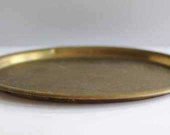 Vintage medium round brass tray