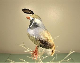 Spun Cotton Feather Bird - Vintage Partridge Quail Black Gray Olive Green