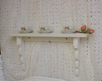 Painted Wood Shelf Scalloped White Vintage Shabby Chic Farmhouse Beach Cottage