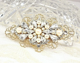 Gold Bridal Comb- Bridal Hair Accessories-Rhinestone and Pearl Bridal Comb-Gold Hairpiece- Vintage inspired Bridal Comb-Wedding Hair Comb