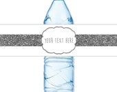 INSTANT DOWNLOAD - Silver Glitter White Water Bottle Label Birthday Baby Bridal Wedding Shower - You Print