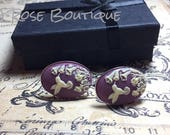 PURPLE   & White Hummingbird Cameo Sterling Silver Plated Kitsch art designer Cameo Cufflinks Mens or Ladies