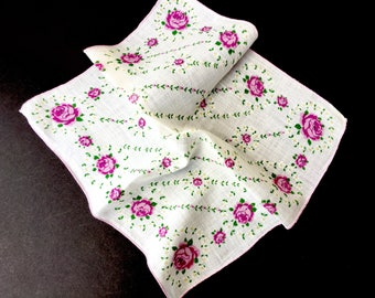 Pretty Vintage Handkerchief with Lavender Roses