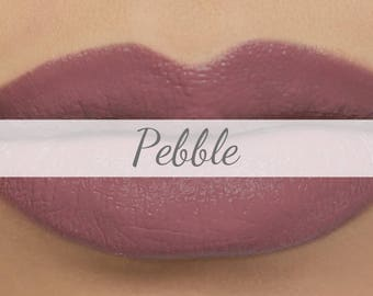 "Vegan Matte Lipstick Sample - ""Pebble"" (greige mauve natural lipstick with opaque coverage)"