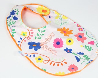 Mexican Dress Bib, Mexican Floral Bib, Colorful Bib, Toddler Bib, Modern Bib, Minky Bib, Augie and Lola Bib, Handmade Bib