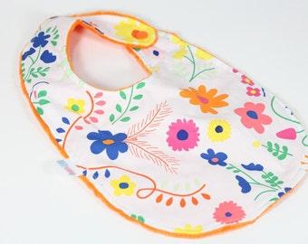 Mexican Dress Bib, Mexican Floral Bib, Colorful Bib, Toddler Bib, Modern Bib, Minky Bib, Augie and Lola Bib, Handmade Bib