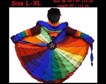 eLF sWEATER, size L, size XL, elf cOAT, pixie, women hoodie, costume, sweater, patchwork coat, rainbow coat, dream coat