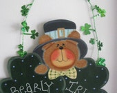 St. Pat's, wall decor/door decor, bear, Irish, shamrocks, handpainted