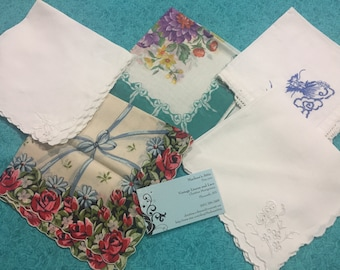 Set of 5 Vintage Handkerchief Hanky, Hanky lot, lot of vintage hankies by MarlenesAttic