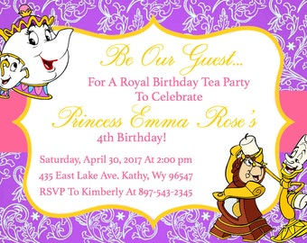 Beauty and the Beast - Princess Belle - Birthday Tea Party Invitation Download - 5 x 7 inches
