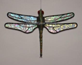 Stained Glass DRAGONFLY Suncatcher, Stardust Clear Rainbow Iridescent Wings & Handcast Metal Body, USA Handmade Original, Rainbow Firefly