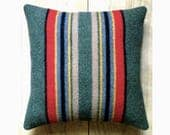 Camp Blanket Wool Pillow - Yakima Rustic Cabin Stripes