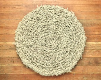 "Wool Rug - Made with Pendleton® Fabric - 30"" Diameter - Oatmeal Beige Blend"
