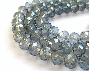 24 Blue Gray Beads, 10mm Glass Crystal Rondelles, Light Blue Silver Grey Faceted Spacer Beads, DIY Jewelry Making Supplies - 24 Pieces SP514