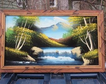 Velvet Painting in Carved Wood Frame Scenic Mountain Water Fall Painted on Velvet Vintage
