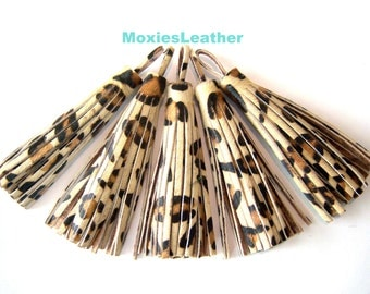 Genuine leather leopard fur tassels - leather hair on hide tassles - animal print hair on hide tassels , tassel pendants  bridesmaid gift