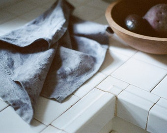 Naturally Dyed French Linen Tea Towel