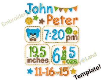 Birth Baby Boy announcement template embroidery designs set - Fill stitch embroidery design 3 sizes BA022