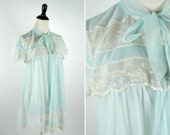 Vintage 1960's Powder Blue Baby Doll Lingerie - Lace Button up with neck tie skimpy nightie top - ladies size small