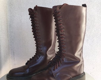 Vintage walking lace boots leather cherry color by Model USA Air Runner sz 8.5M