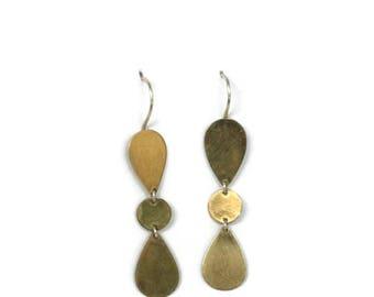 Long Gold  Drop Earrings, Modern Gold  Chandelier Earrings, 18K Geometric Dangle Drops, Artisan Handmade by Sheri Beryl