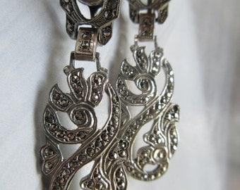 Vintage Deco  Earrings, Circa 1930 Sterling Marcasite Earrings, Screw Back Earrings, Fine Estate Jewelry, Bridal Jewelry, Downton Abbey