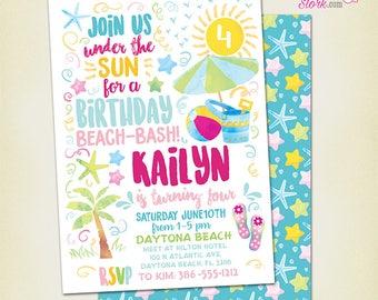 Beach Invitation, Beach Party Invitation, Pool Party Invitiation, Beach Birthday Party Invitation, Printable Invite