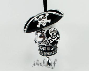 Ornament Skull pirate black day of dead charm hang rear view mirror for car