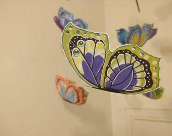 Colourful Bamboo & Paper Butterfly Mobile For Baby Crib, Nursery, Bedroom Or Livingroom.