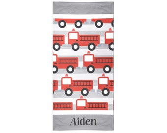 Firetruck Gray Personalized Beach Towel