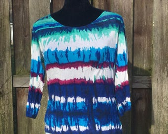 Laura Ashley Shirt / Vintage Tie Dye Top / Purple Blue and White Blouse / Size Small
