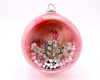 Pink Vintage Mercury Glass Diorama Christmas Holiday Ornament 1960s Japan