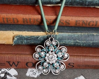 Art Deco Flower, Patina Necklace, Patina Flower Jewelry, Flower Pendant, Art Deco Jewelry, Art Deco Necklace, Deco Punk Jewelry, Deco Punk