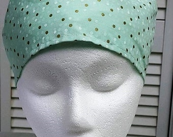 Women's: Mint and Gold Polka Dot Scrub Hat - Adjustable.