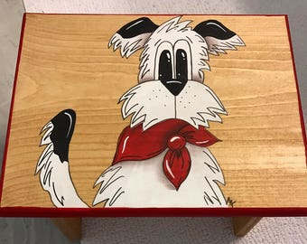 Dog Step Stool, Terrier Stool, Kids step stool, Personalized Step Stool, Dog Nursery, Dog Decor